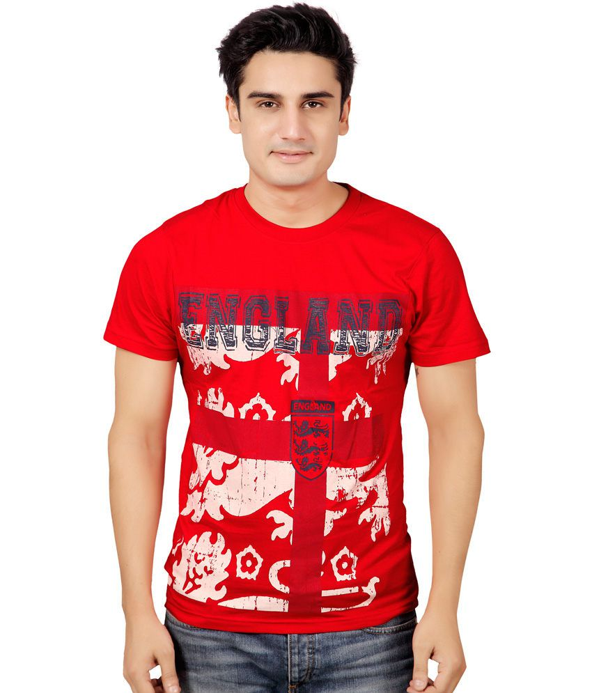 Stephen Armor Red Printed Cotton Round Neck Half T-shirt