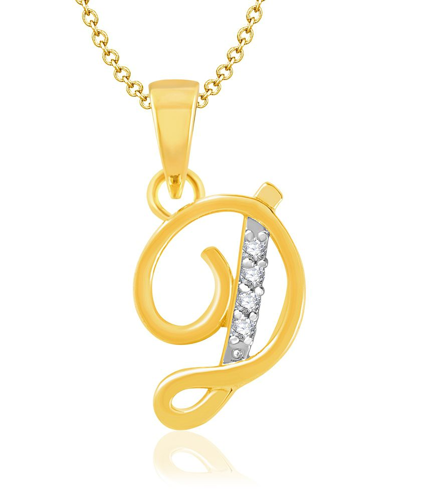 17d5f84dc6ae Vk Jewels Alphabet Collection Initial Pendant Letter D Gold And