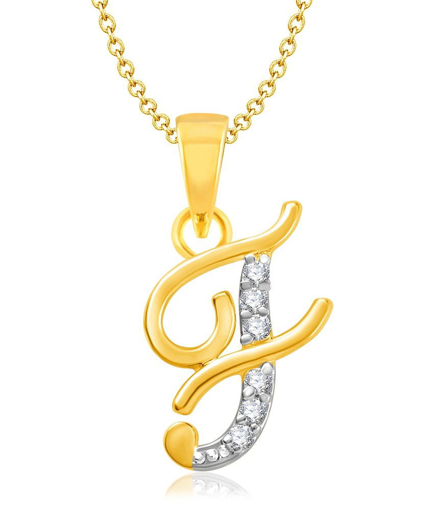 Vk Jewels Alphabet Collection Initial Pendant Letter F Gold And