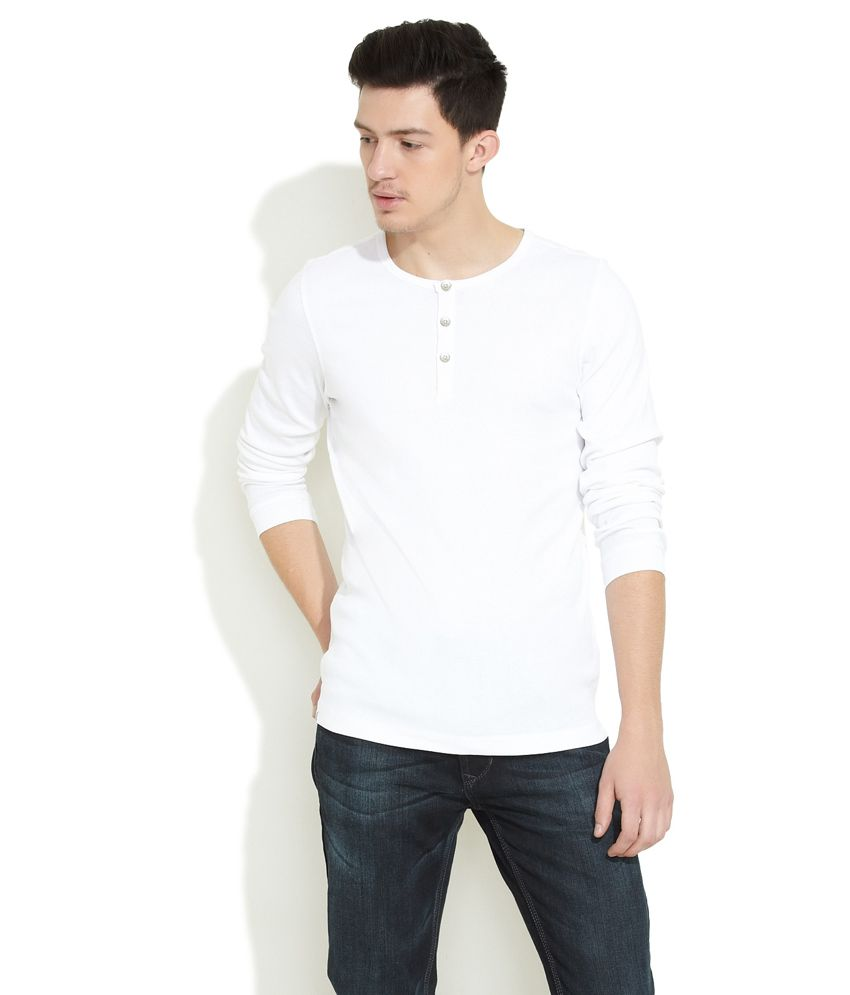 Numero Uno White Numero Uno Cotton Casual Henley Shirt