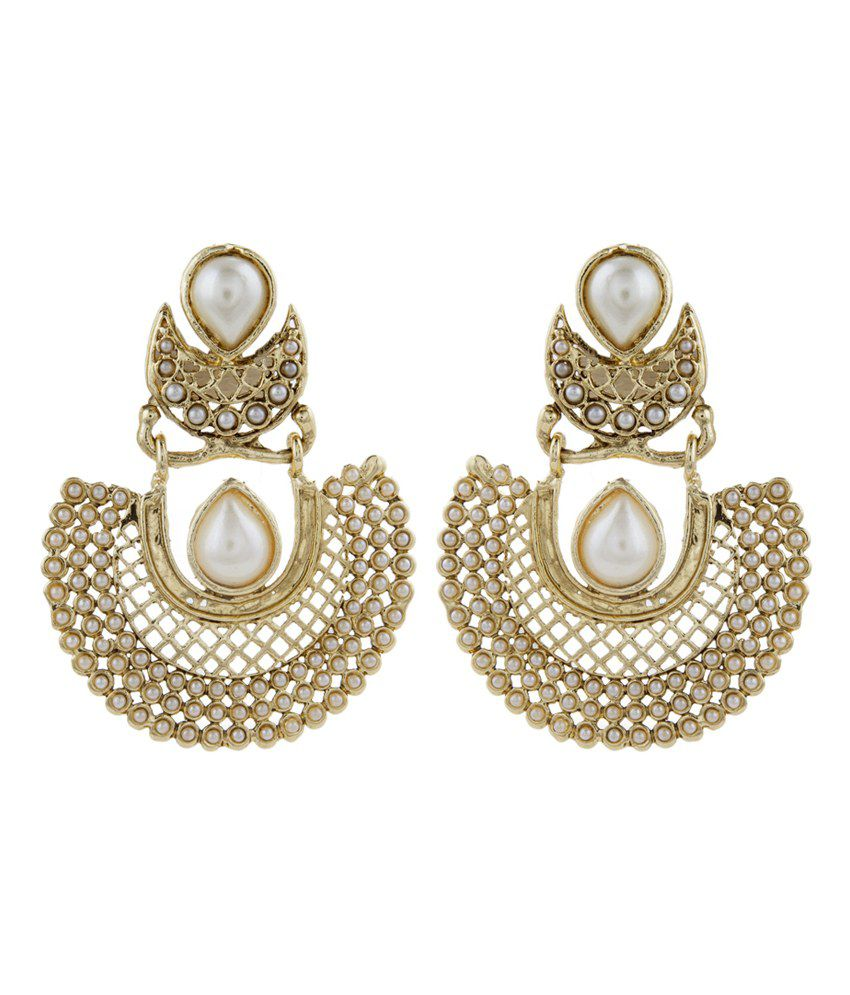 The Jewelbox Gold Plated Pearl Chaand Bali Antique Traditional Earring