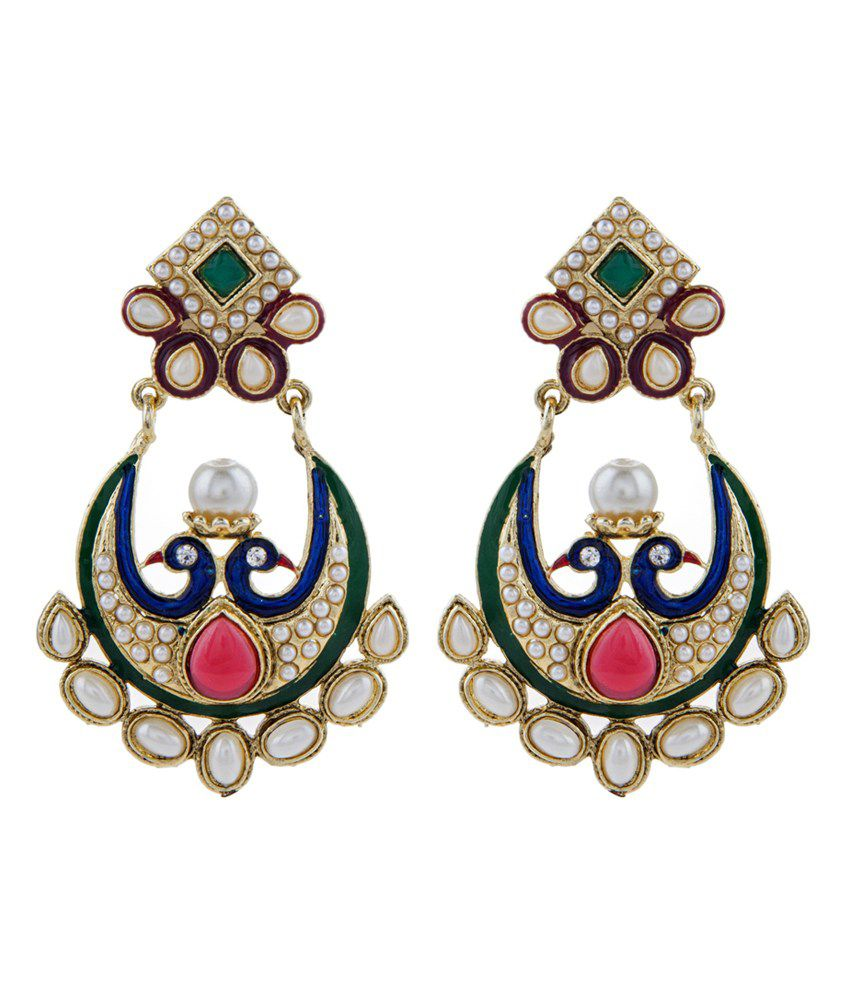 The Jewelbox Gold Plated Pearl Red And Green Chaand Bali Peacock Mayur Earring