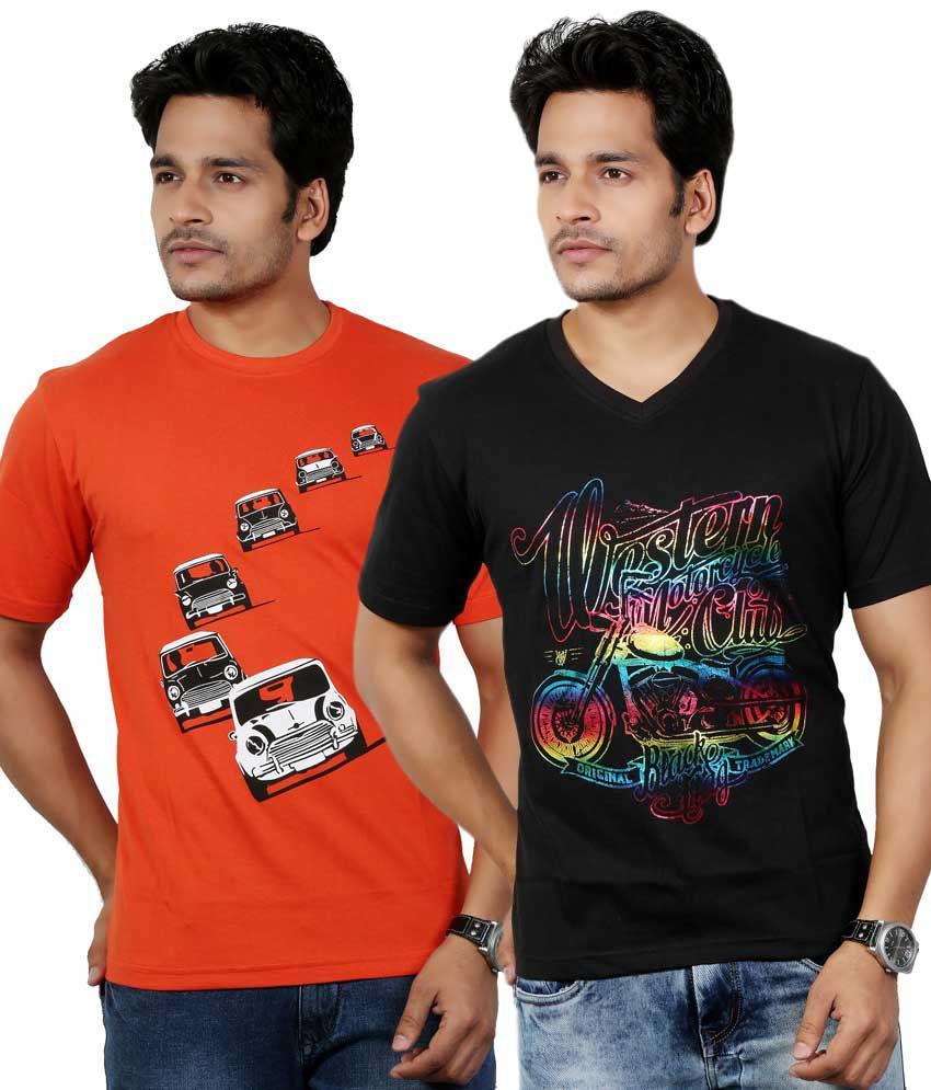 Eco Trend Black-Orange Cotton V-Round Shape Printed-Biowash Half Sleeves tshirt combo pack of 2 For Men   ECO107C117