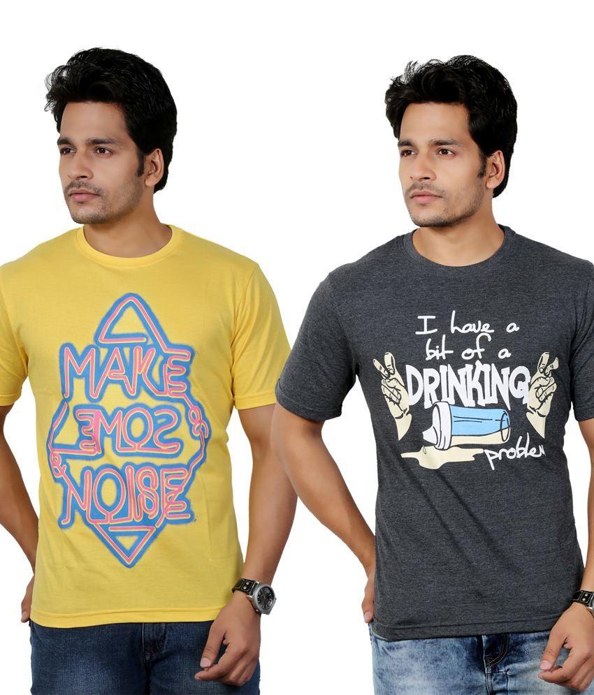 Eco Trend Yellow-Grey Cotton Round Shape Printed-Biowash Half Sleeves tshirt combo pack of 2 For Men | ECO106C113