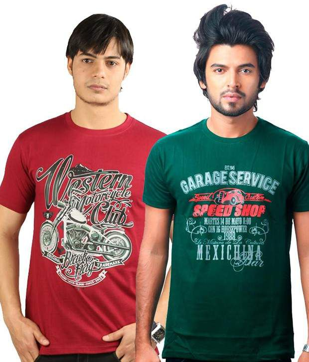 Uk Tribes Maroon-green Pack Of 2 T Shirts