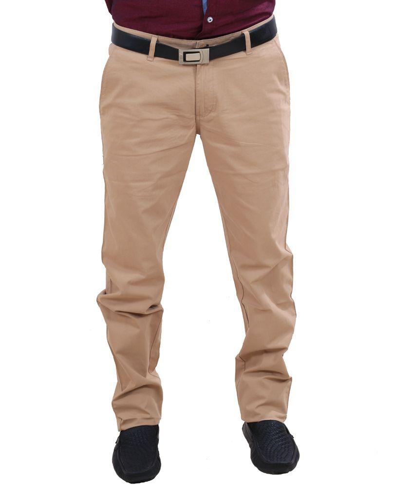 Indiweaves Khaki Cotton Semi Formal Trouser