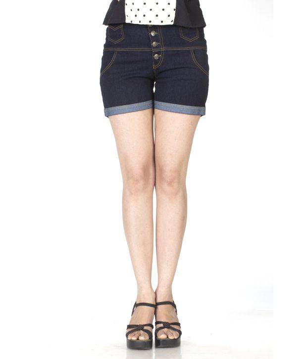 Buy Trendbae 5 Button High Waist Shorts - Navy Blue Online at Best ...