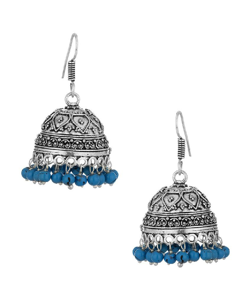 Voylla Endearing Pair Of Jhumki Earrings With Blue Beads