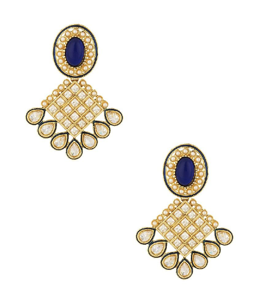 Voylla Gold Plated Geometric Earrings With Encrusted Cz And Stones