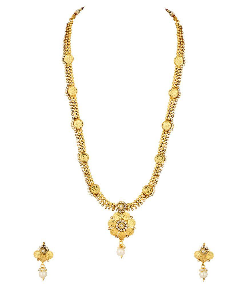 Voylla Golden Flower Necklace Set Embellished With Cz, Pearls