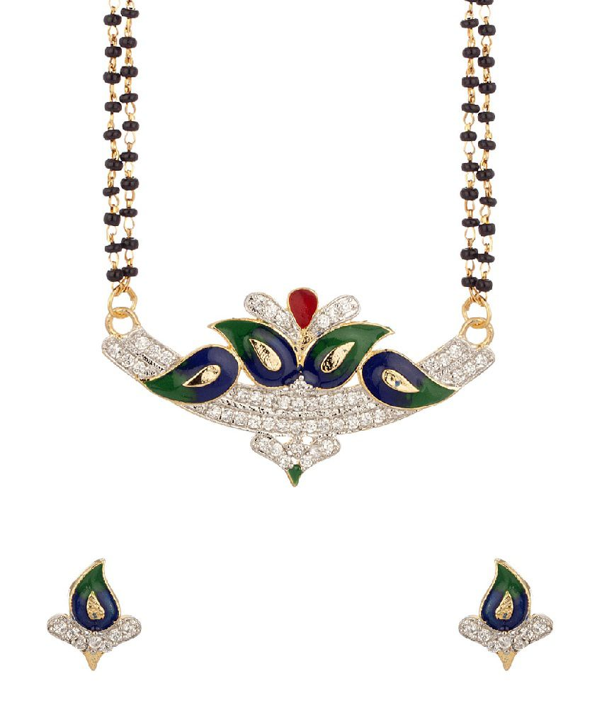Voylla Mangalsutra Set With Enamel Work Featuring Double Chain