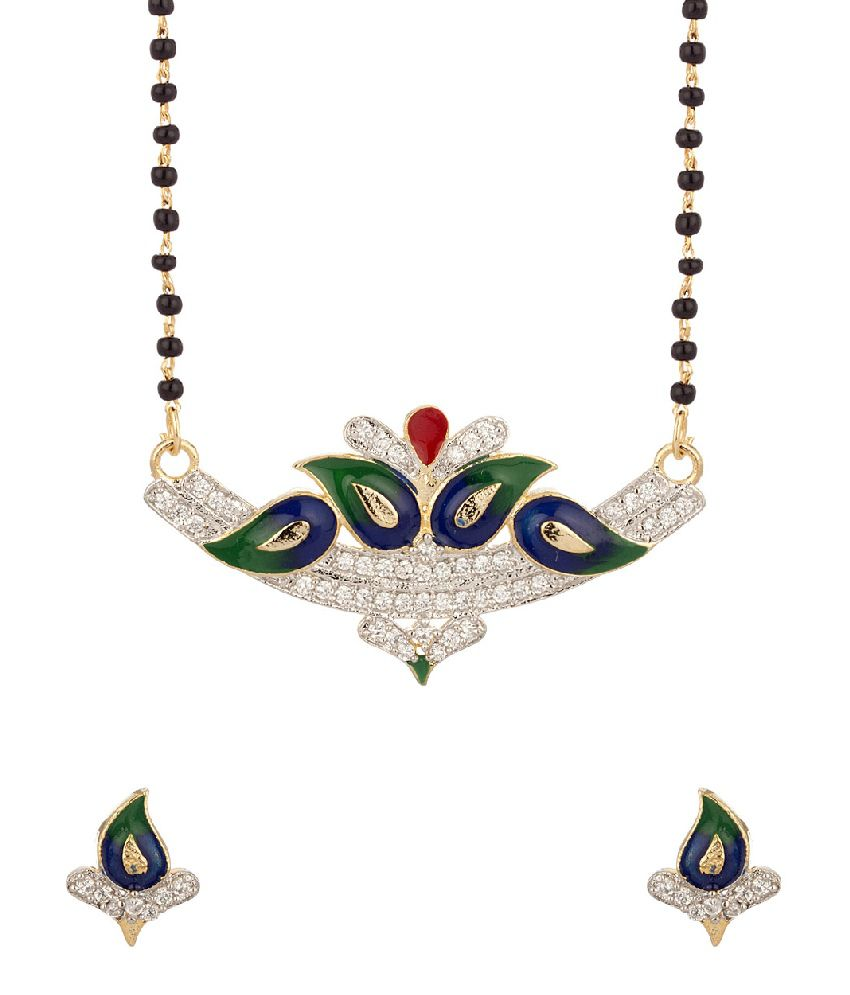 Voylla Mangalsutra Set With Enamel Work Featuring Single Chain