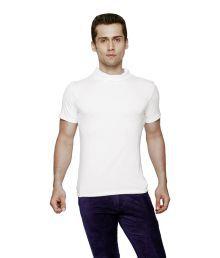 Globus White Half Sleeves Polyester High Neck T-shirt