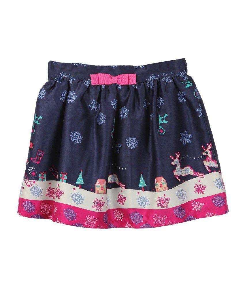 Beebay Navy Color Reindeer Printed Skirts For Kids