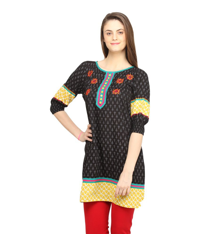 Globus Black Printed Cotton Medium 3/4th Sleeves Kurti