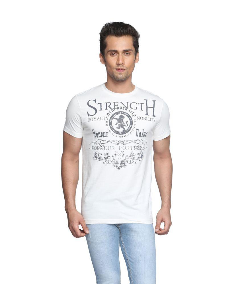Globus White Half Sleeves Cotton Blend Round T-shirt