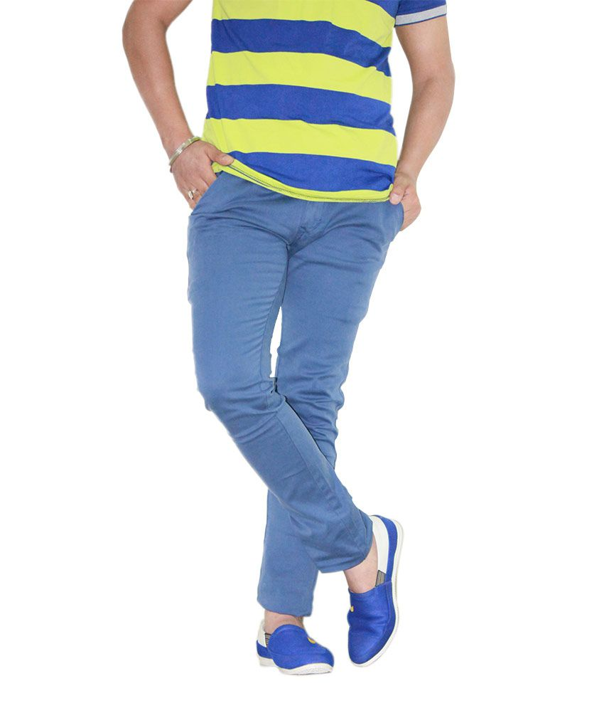 Kendrews Blue Cotton Lycra Slim Fit Semi Formal Chino