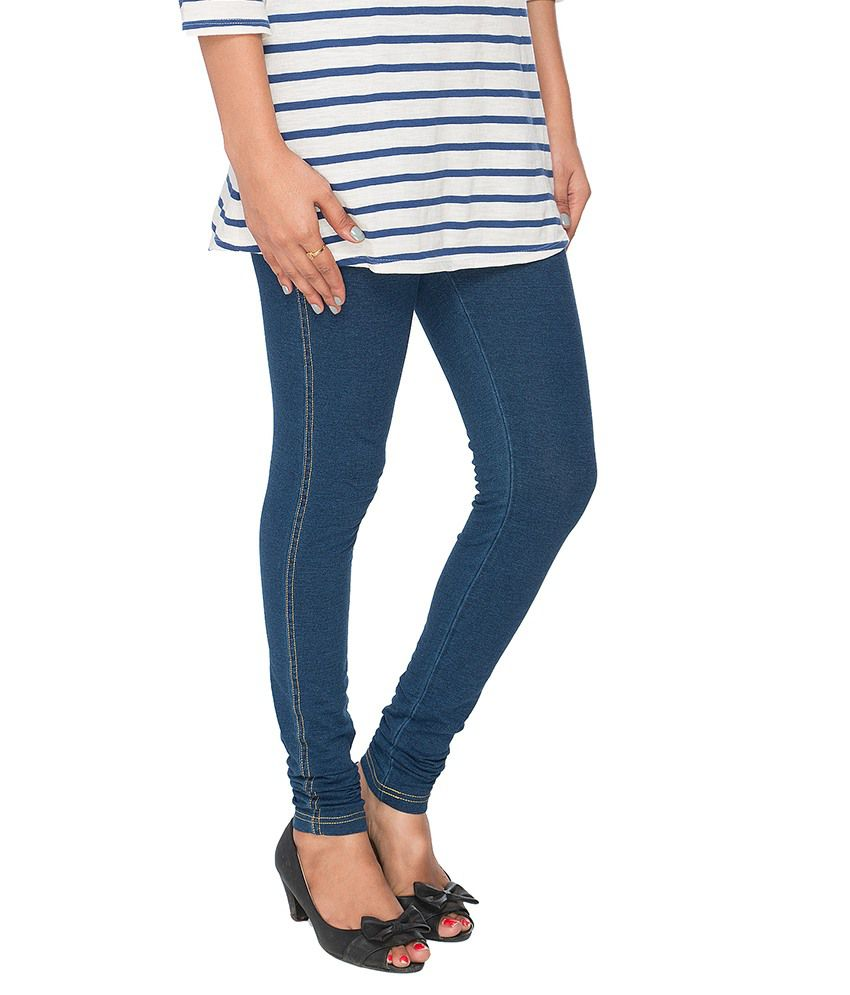 8287e07defa Buy Prisma Blue Cotton Jeggings Online at Best Prices in India ...
