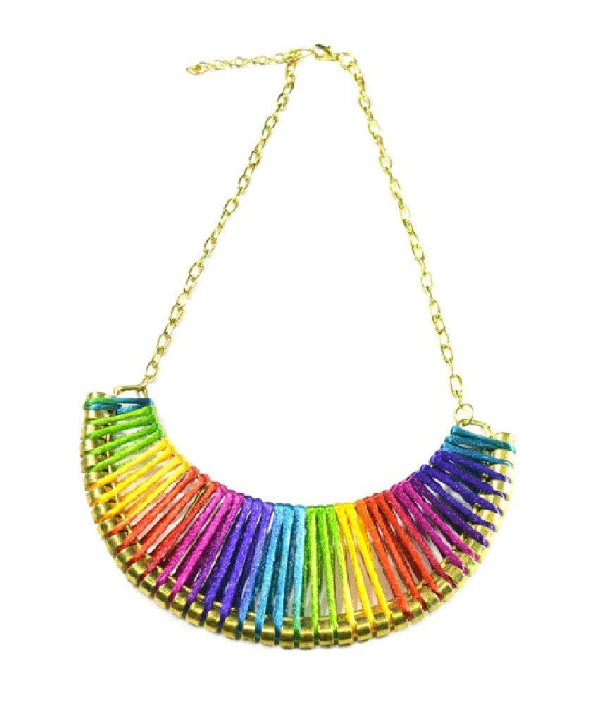 Volaliva Colorful Tribal Bib Necklace