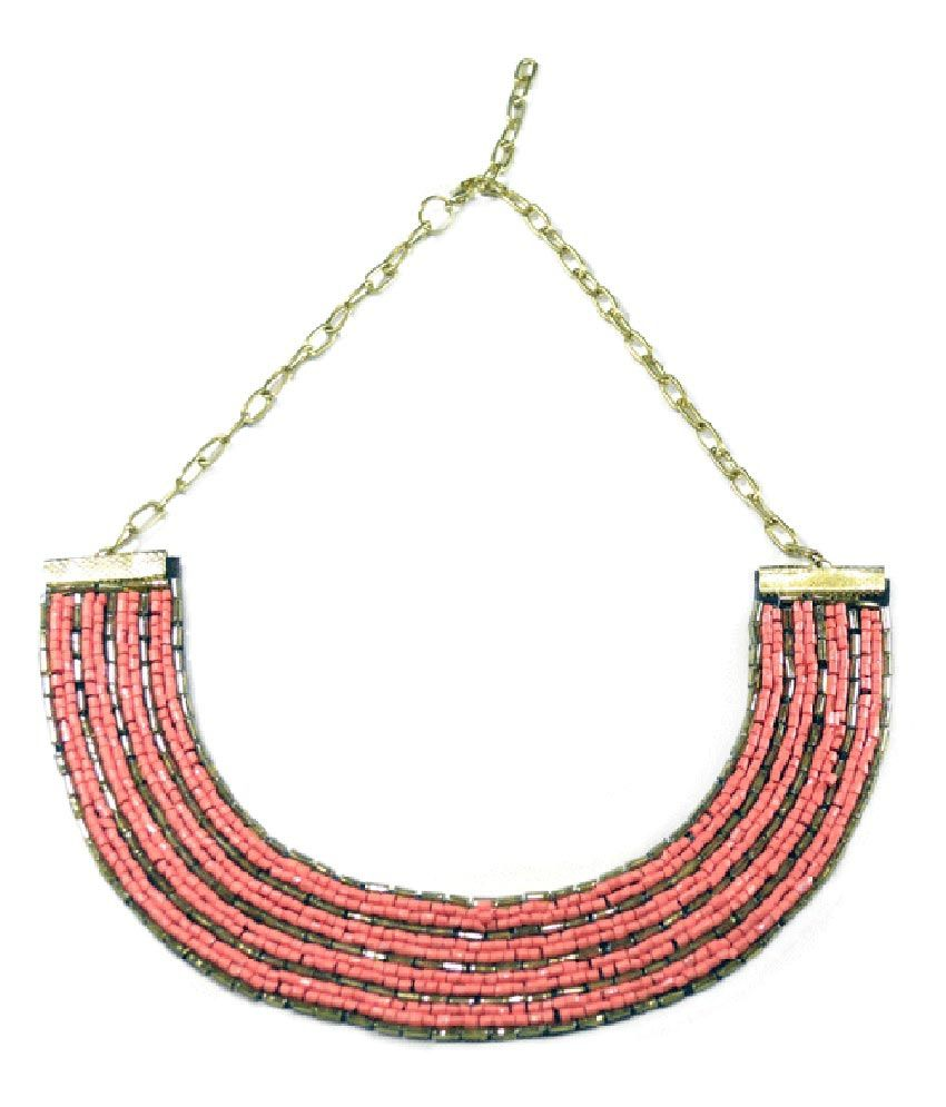 Volaliva Pink Fashion Bib Beaded Necklace
