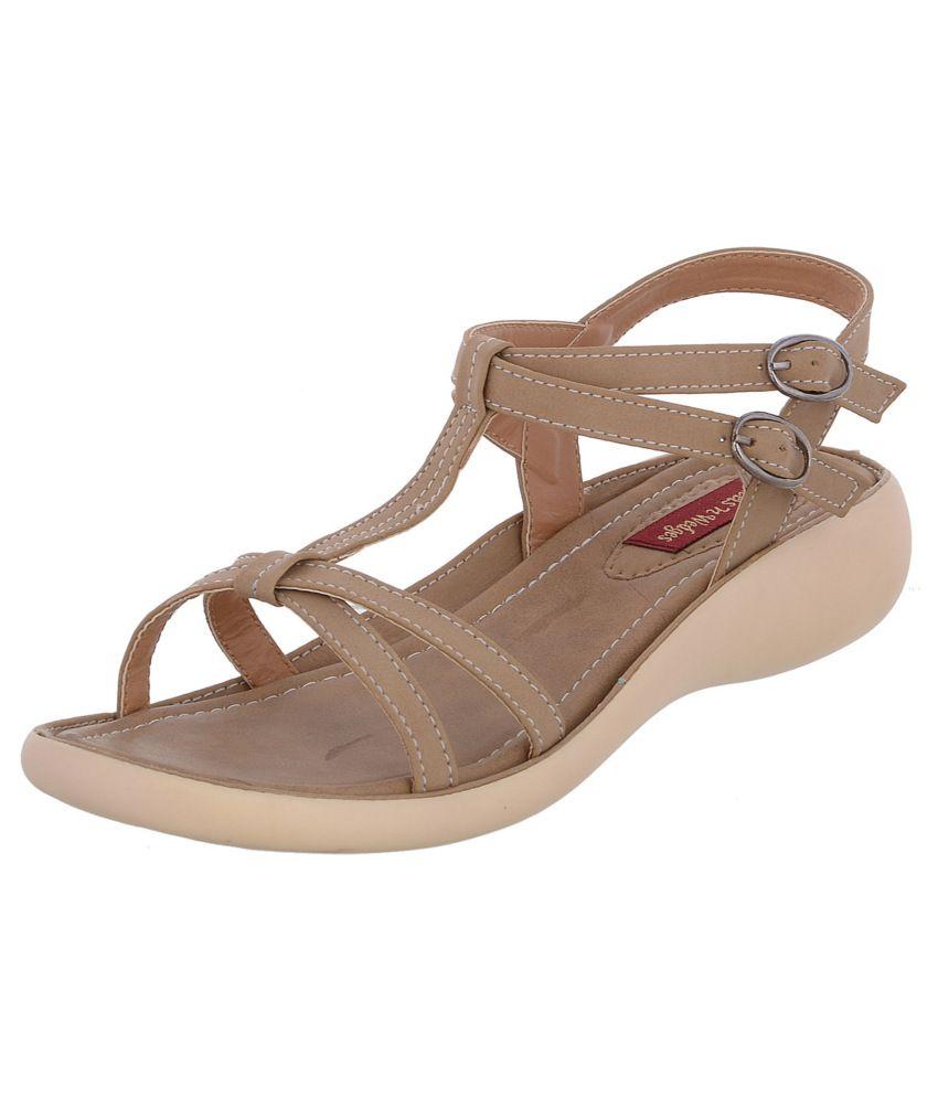 Heels N Wedges Beige Sandal