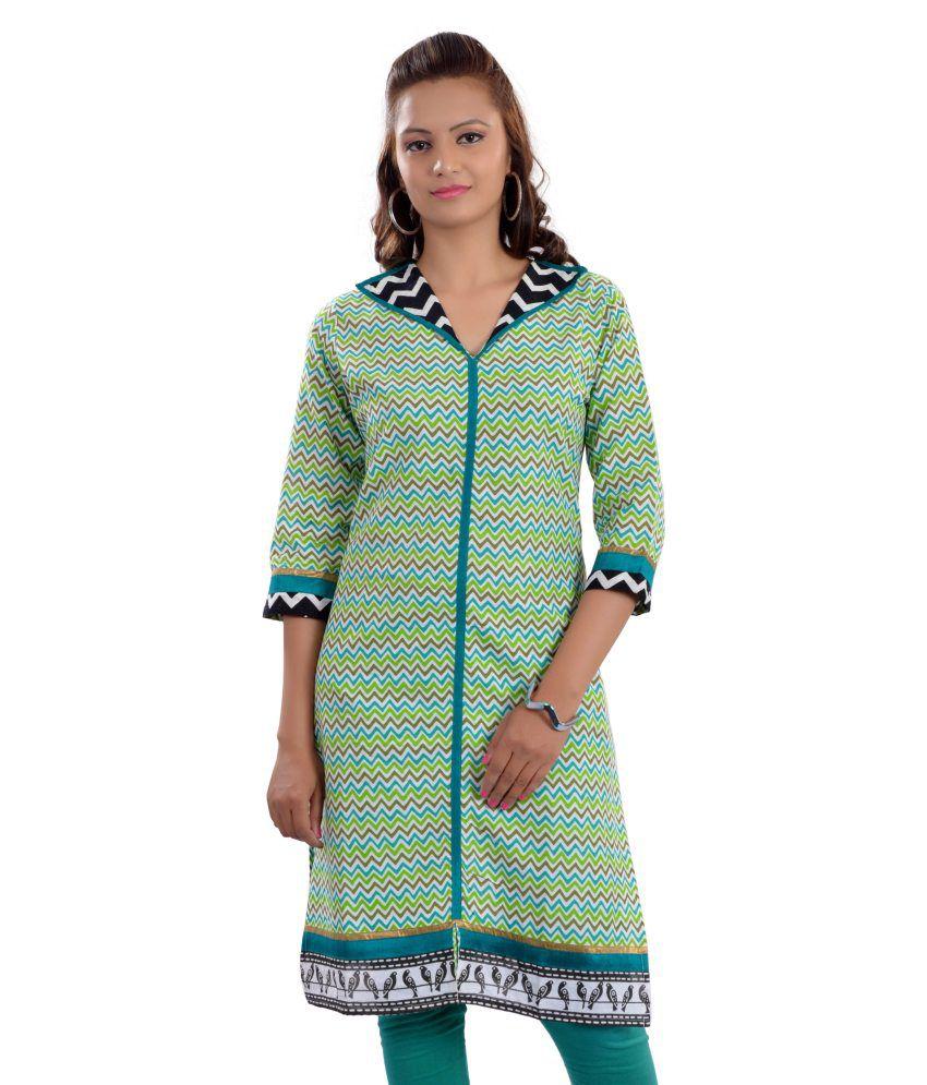Rajasthani Sarees Green Cotton Printed Kurti