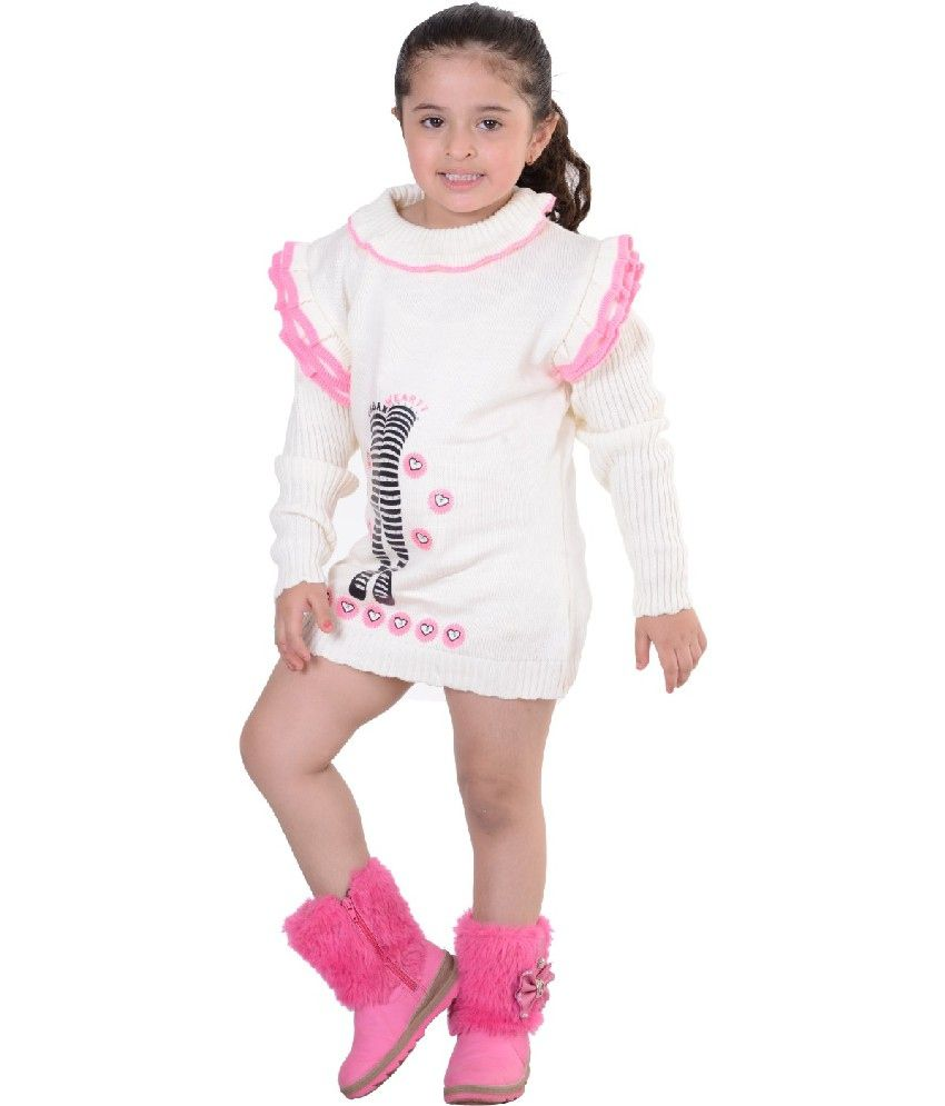 a5078025edfc Sportking Full Sleeves White Color Round Neck Woolen Top For Kids ...