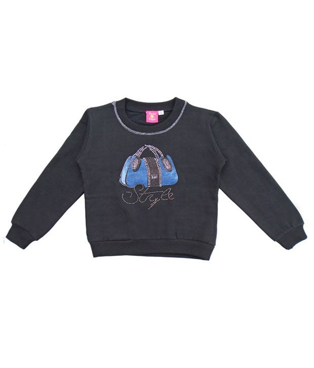 Sweet Angel Black Sweatshirt For Girls