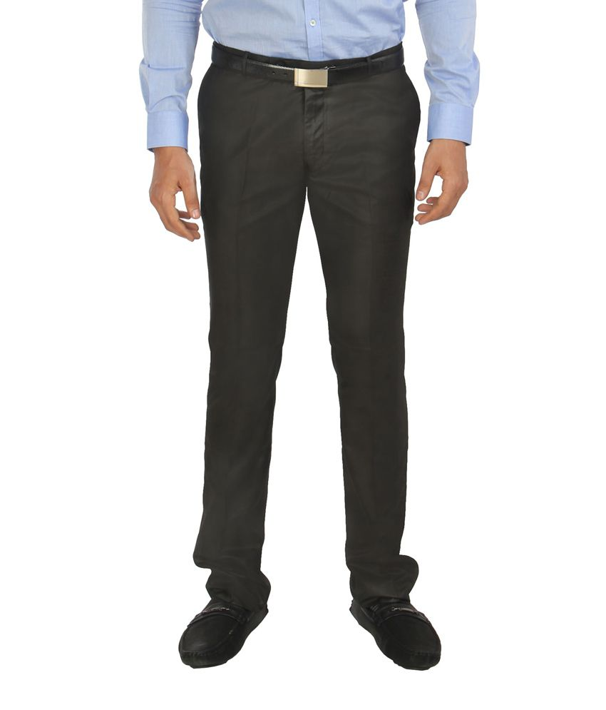 Zido Black Formal Slim Fit Trouser for Men_ZI14026_BLACK_36