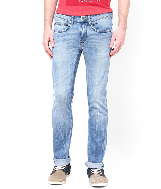 French Connection Men's Light Blue Skinny Fit Jeans