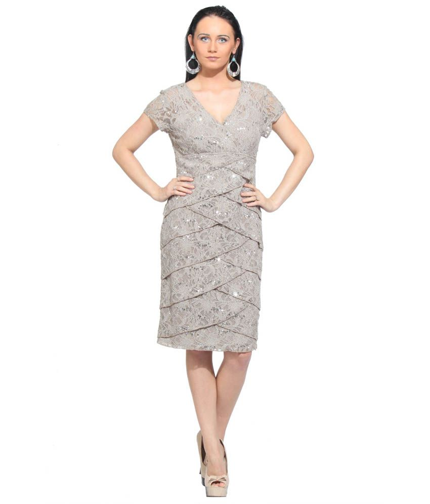 f170532cc601 ... Sequins Party Wear Short Sleeves Dress - Buy Fuegobella Silver Strech  lace with Sequins Party Wear Short Sleeves Dress Online at Best Prices in  India on ...