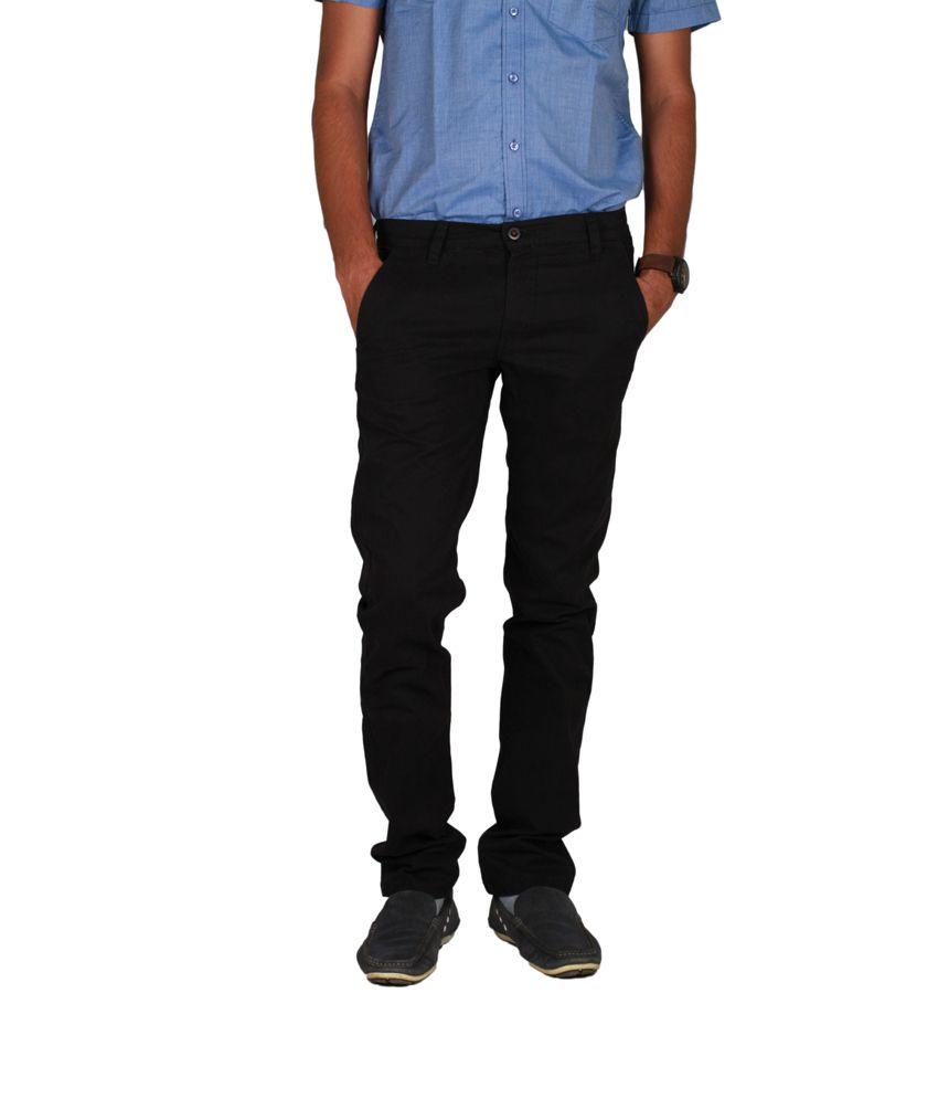 IVOC Black broken twill Lycra Cotton Trousers