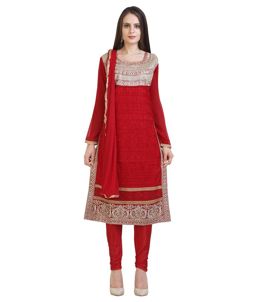 Libas Red Georgette Churidar Suit