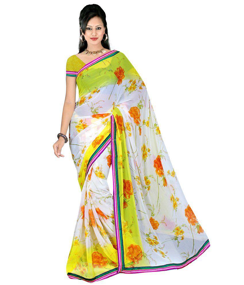 Raina Printed Chiffon Saree With Designer Lace