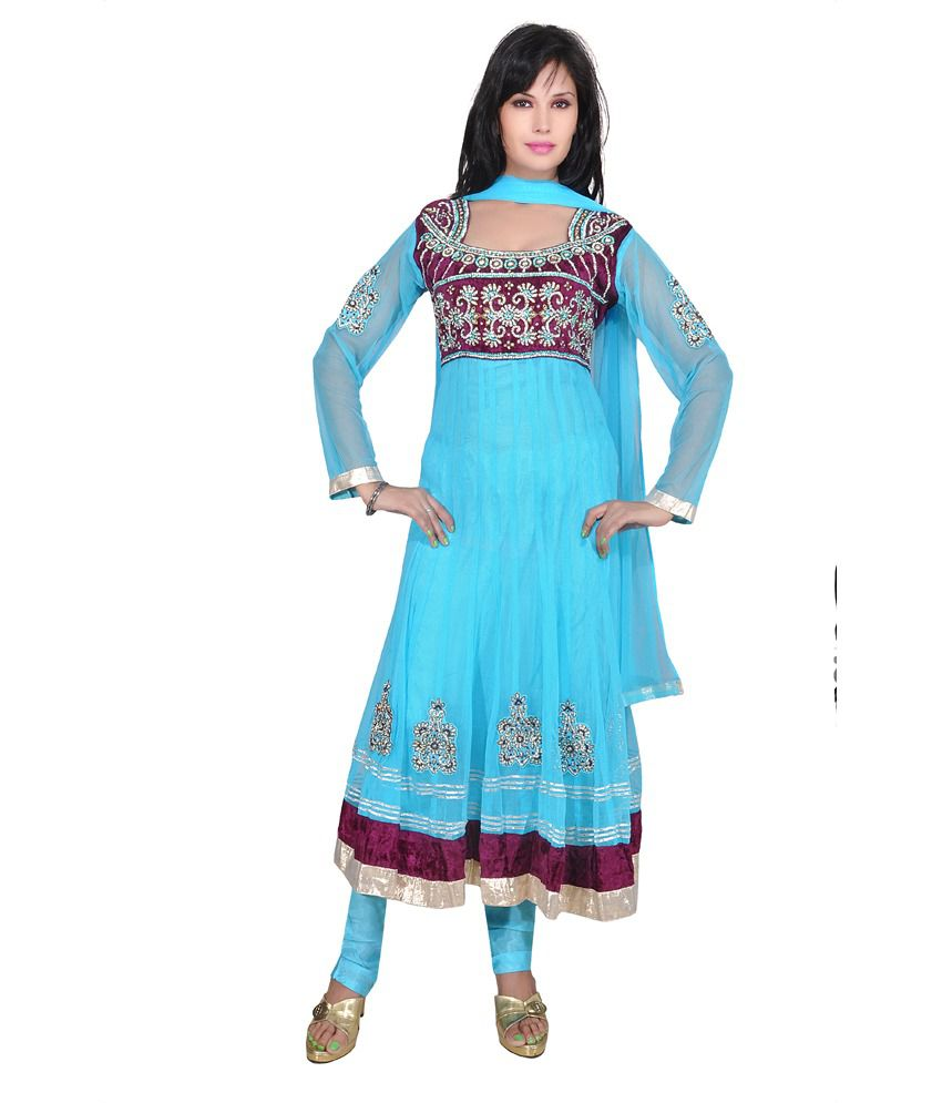 Ajahara Ferozi With Wine Embroidered Net Anarkali Salwar Suit