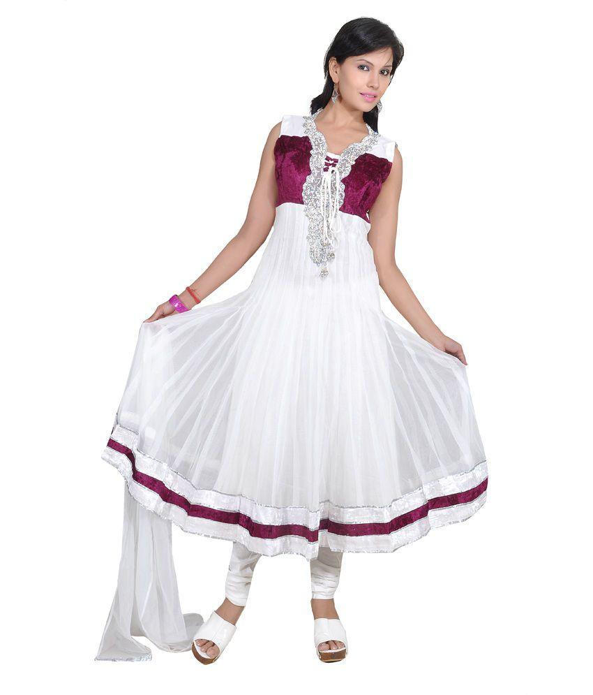 Ajahara White With Wine Printed Net Anarkali Salwar Suit