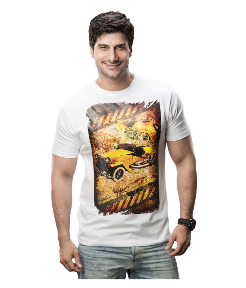 Imagica White Cotton T-shirt