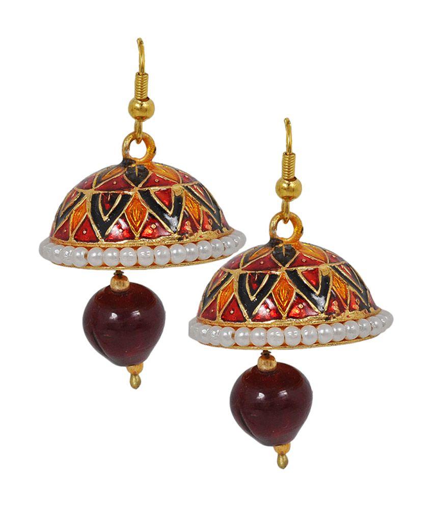 Maayra Sober Multicolour Meenakari Fish-hook Jhumki Earrings