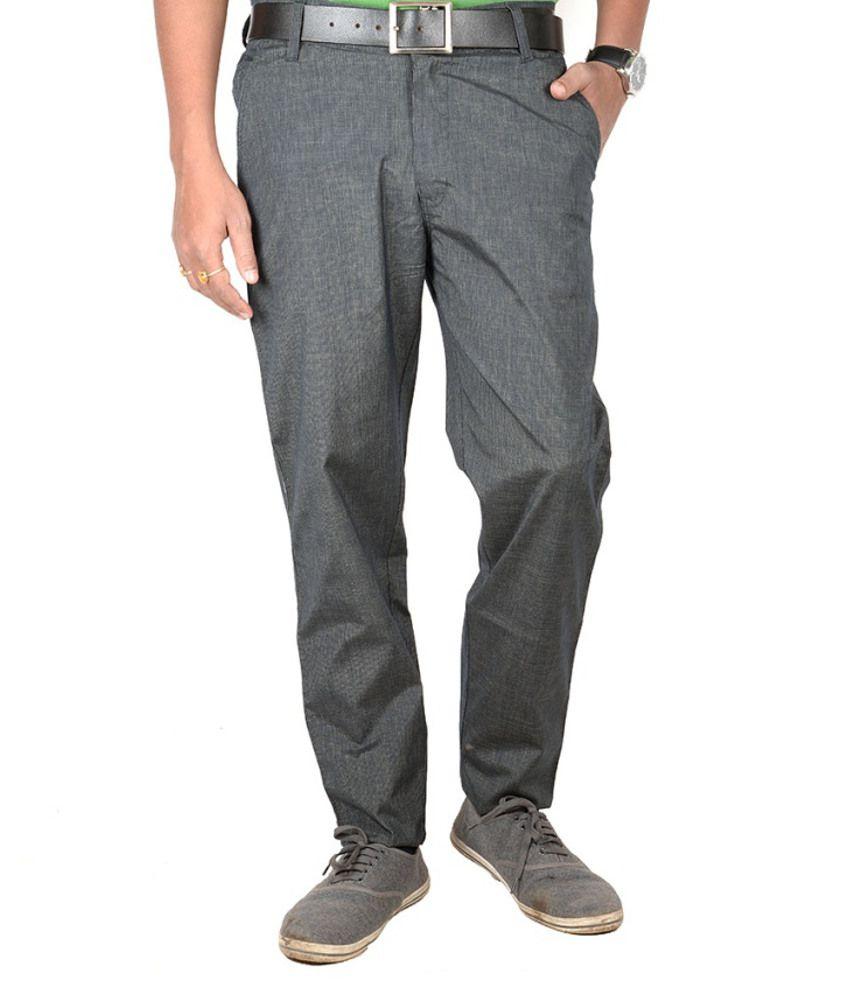 J J Retail Gray Cotton Lycra Semi Formal Trouser