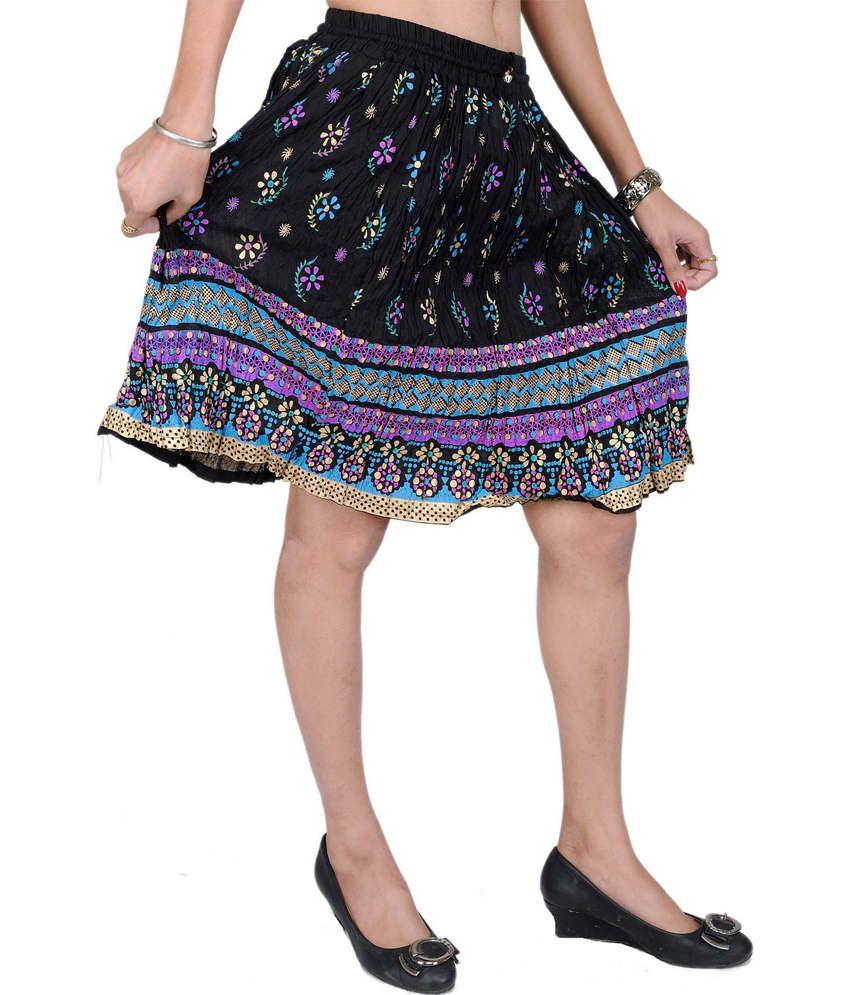 buy odishabazaar black printed cotton knee length length