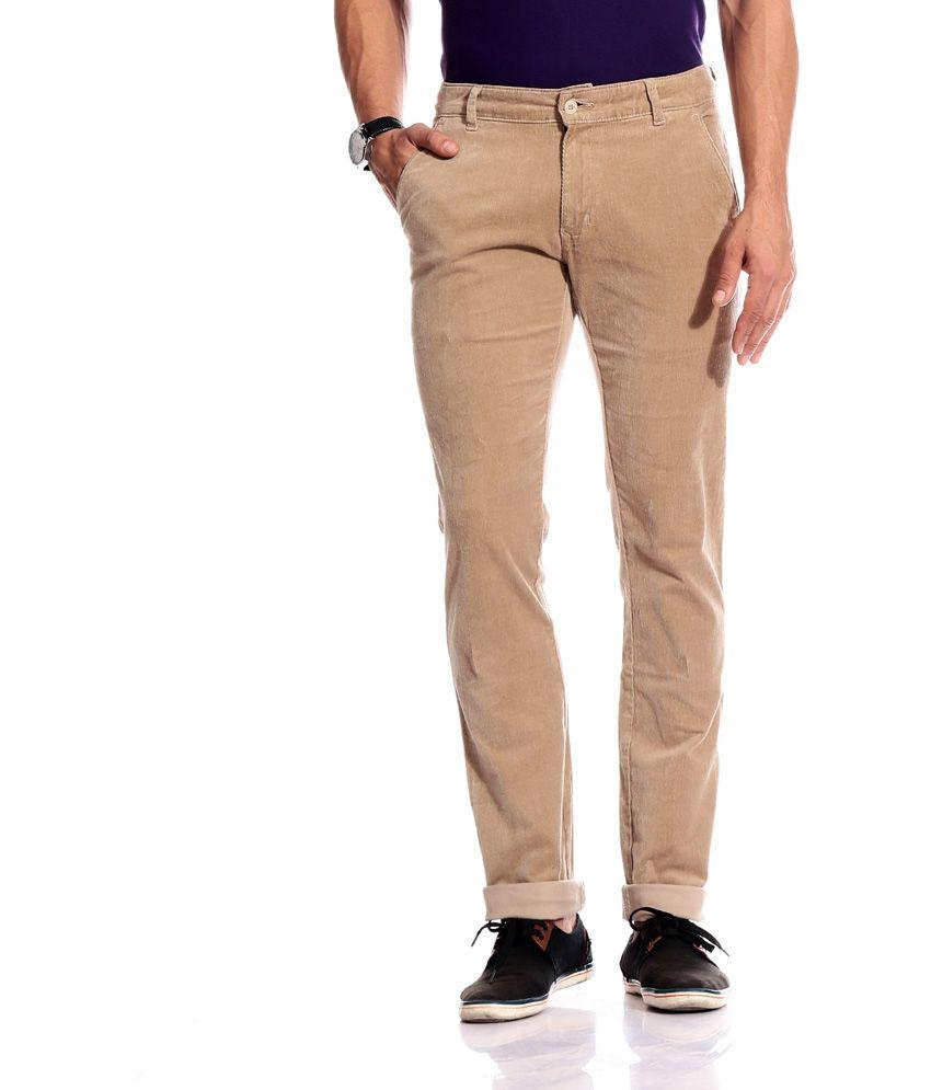 Perfects Beige Cotton Blend Slim Fit Casual Corduroy Pant