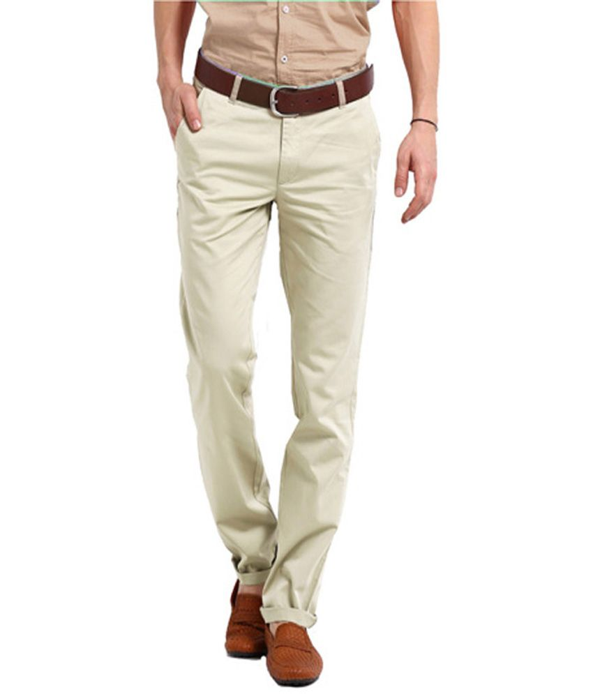 Perfects Ghostwhite Cotton Regular Fit Formal Trouser