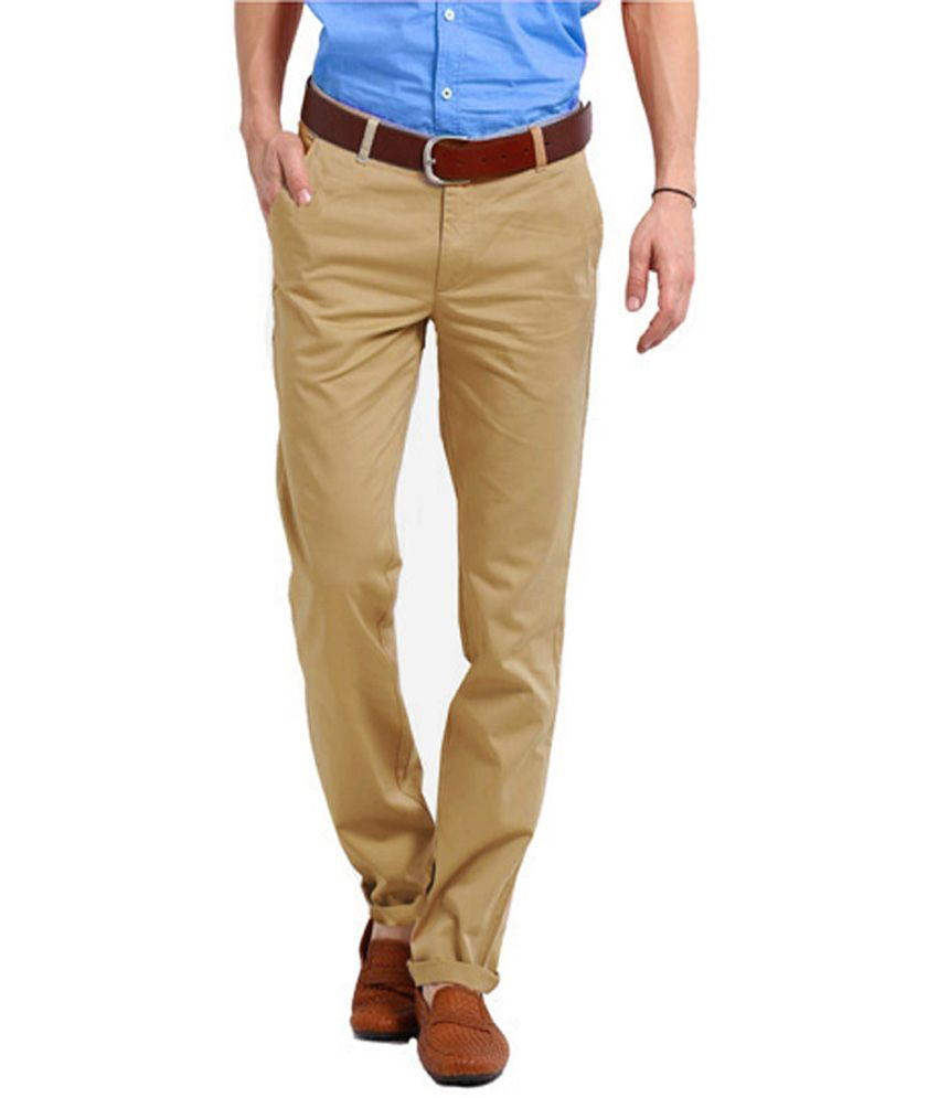 Perfects Khaki Cotton Regular Fit Formal Trouser