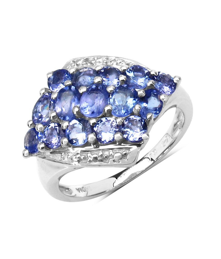 Tanzanite Buying Tanzanite: 1.85CTW Genuine Tanzanite .925 Sterling Silver Cluster