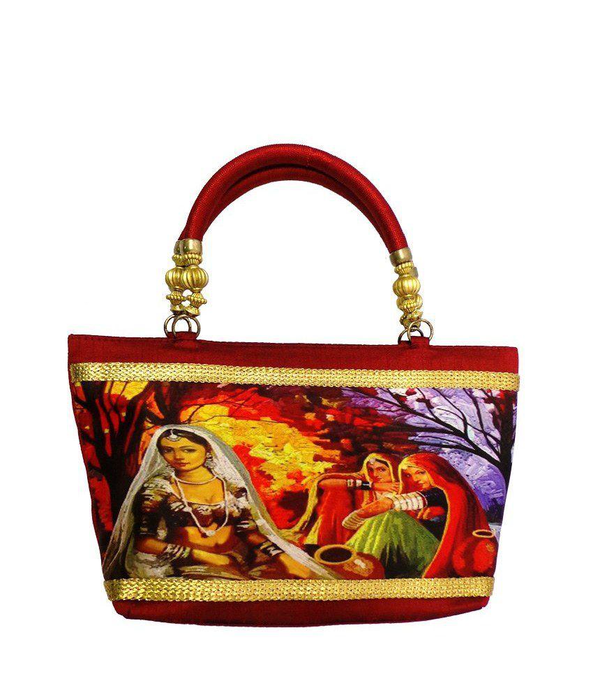 Bhamini Maroon Silk Shoulder Bag with Rural India Digital Print