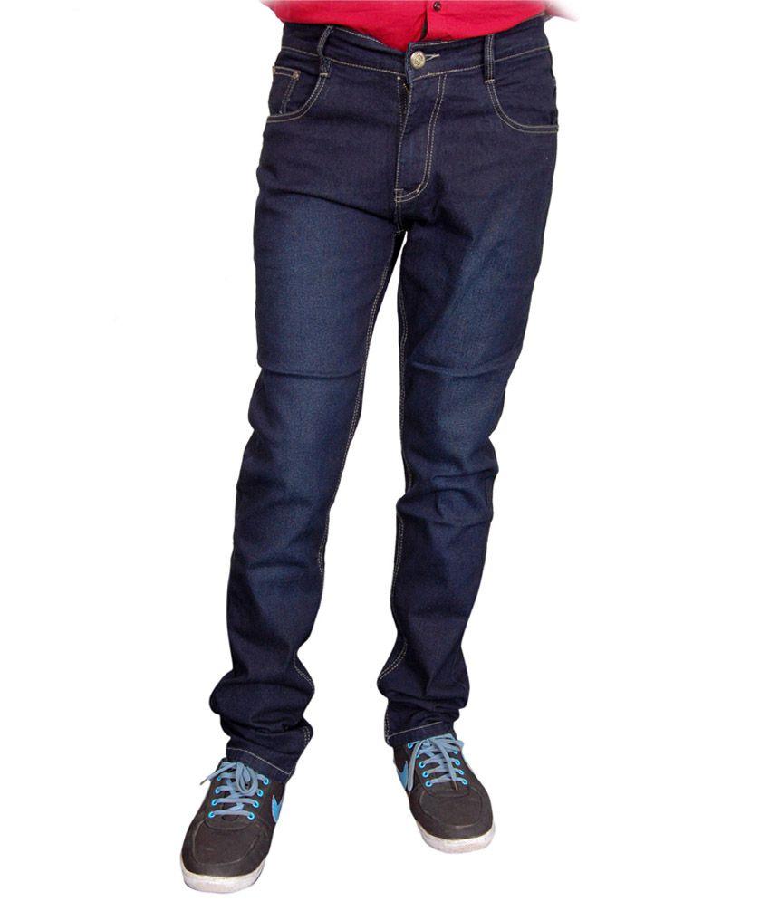 Fashion Flag Blue Cotton Blend Slim Fit Jeans