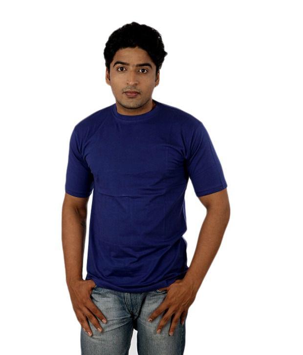 Fashion Jiffys Fashion Round Neck Cotton T-Shirt- Blue