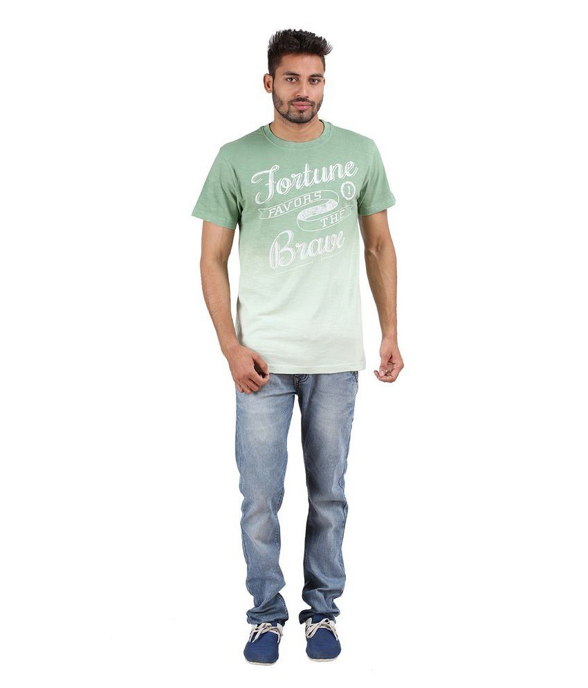 Goflaunt Green Cotton Blend T-shirt