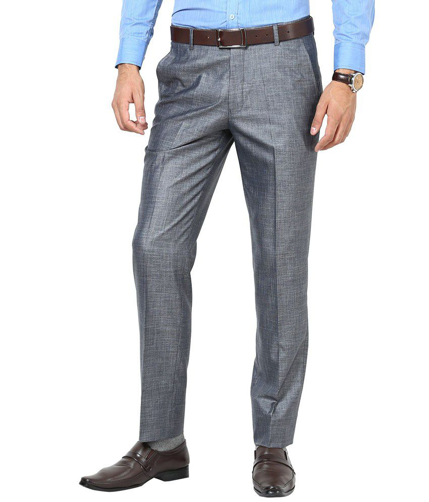 Richlook Grey Cotton Men's Trouser