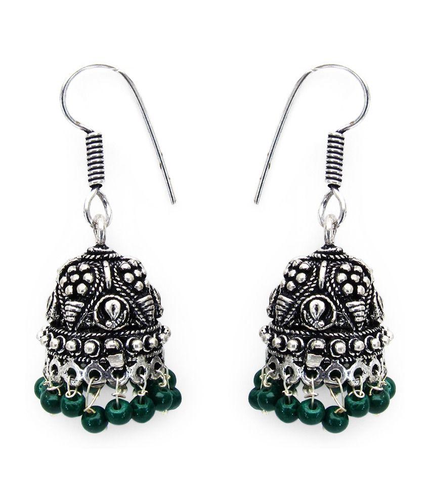12.90 Grams Green Glass Oxidised Brass Earrings
